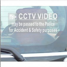 1 x Window Sticker-CCTV Video Passed to Police for Accident & Security Warning-200mm x 87mm-CCTV Sign-Van,Lorry,Truck,Taxi,Bus,Mini Cab,Minicab